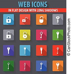Lock and Key icons set - Lock and Key web icons in flat...