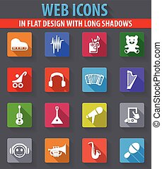 Childrens toys icons set - Childrens toys web icons in flat...