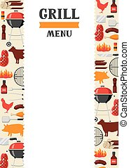 Bbq menu background with grill objects and icons