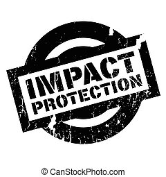 Impact Protection rubber stamp. Grunge design with dust...