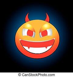 Evil devil smiles on a blue background