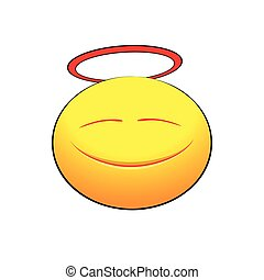 Cute angelic smile on white background. Vector illustration