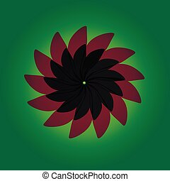 Red and dark petals on a green background