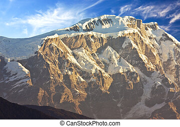 Mount Lamjung Himal at Dawn, Nepal - Image of Mount Lamjung...
