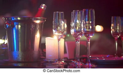 Glass club drink music alcohol - Glass of wine is on the...