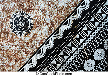 Background of traditional Pacific Island tapa cloth, a...