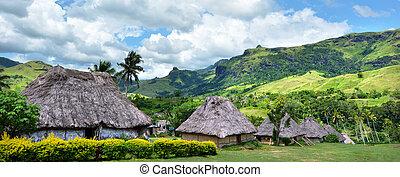 panoramico, vista, villaggio, Figi,  navala