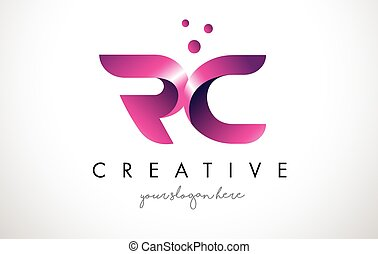RC Letter Logo Design with Purple Colors and Dots - RC...