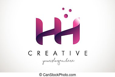HH Letter Logo Design with Purple Colors and Dots - HH...