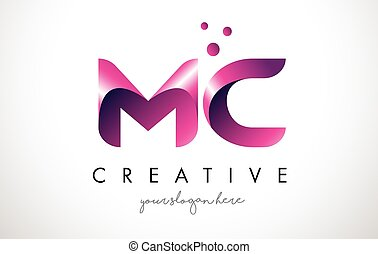 MC Letter Logo Design with Purple Colors and Dots - MC...