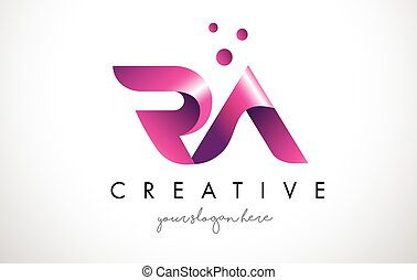 RA Letter Logo Design with Purple Colors and Dots - RA...