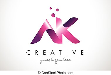 AK Letter Logo Design with Purple Colors and Dots - AK...