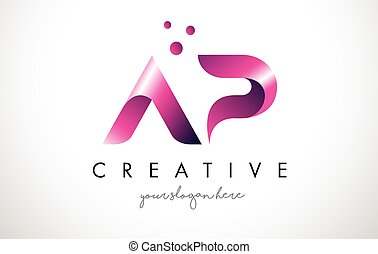 AP Letter Logo Design with Purple Colors and Dots - AP...