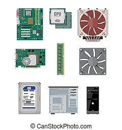 Assembling PC. Personal computer hardware. - Motherboard,...