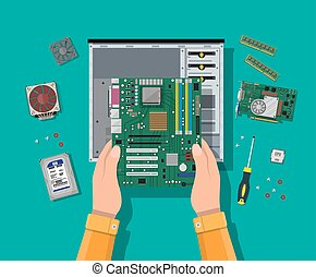 Assembling PC. Personal computer hardware. - Hands with...