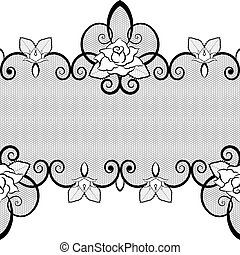 Black lace seamless pattern with roses on white background