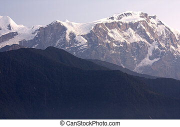 Mount Lamjung Himal at Dusk, Nepal - Image of Mount Lamjung...