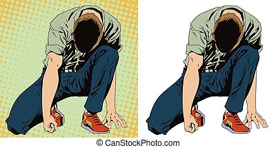 Man tries to get up from his knees. Stock illustration....