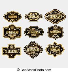 Antique label, vintage frame design, retro logo. - Set of...