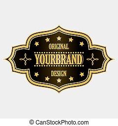 Antique label, vintage frame design, retro logo. - Golden...