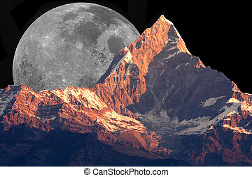 Mount Machhapuchhre and the Moon - Image of Mount...