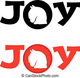 Horse head with text joy on white background