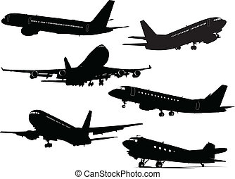 Six Airplane silhouettes . Vector illustration for designers...
