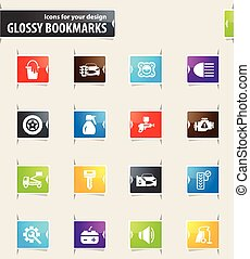 Car shop icons set - Car shop vector glossy bookmarks for...