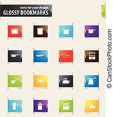 Dishes Bookmark Icons - Dishes vector bookmark icons for...