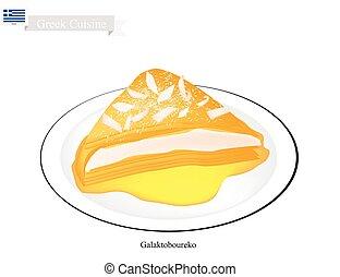Galaktoboureko or Greek Cheese Pastry with Custard - Greek...