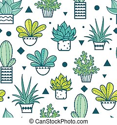 Vector Blue Green Seamless Repeat Pattern With Growing...