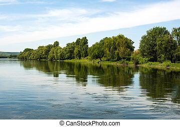 sommer, Fluß, landschaftsbild