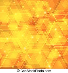Orange abstract techno background with hexagons