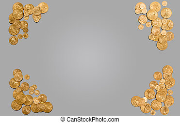 Pure gold coins forming edge of background - Solid gold USA...