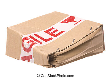 Crushed Box with Fragile Tape - Isolated image of a crushed...