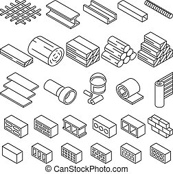 Building construction materials for repair isometric vector icons