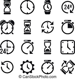 Clock, time, chronometer vector pictograms. Hourglass and...