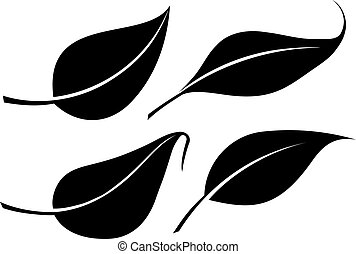 Set of four black leaves vector silhouettes