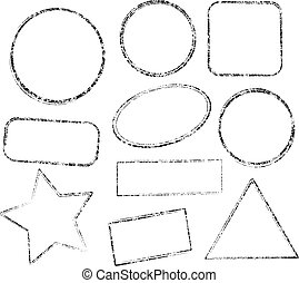 Set of ten grunge black vector templates for rubber stamps