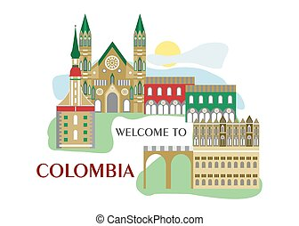 welcome to colombia - set in the style of a flat design on...