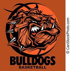 bulldogs basketball team design with mean mascot face inside...