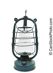 old kerosene lamp on white background
