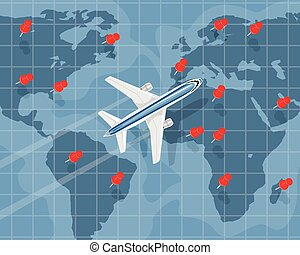 International air travel - Vector illustration of a...