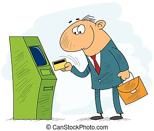 Withdraw - vector illustration of a businessman withdrawing...