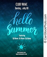Poster template for summer party - Hello summer party poster...