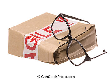 Crushed Box with Fragile Tape and Glasses