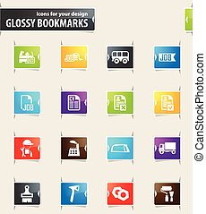 Job icons set - Job icons for your design glossy bookmarks
