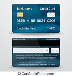 Detailed realistic vector credit card.