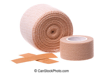 Bandages and Plasters Macro Isolated - Isolated macro image...