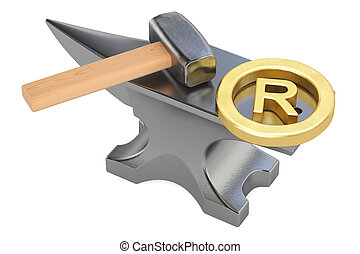 anvil with registered trademark sign, 3D rendering isolated...